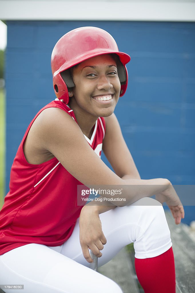 Portrait of Smiling Softball Player : Stock Photo