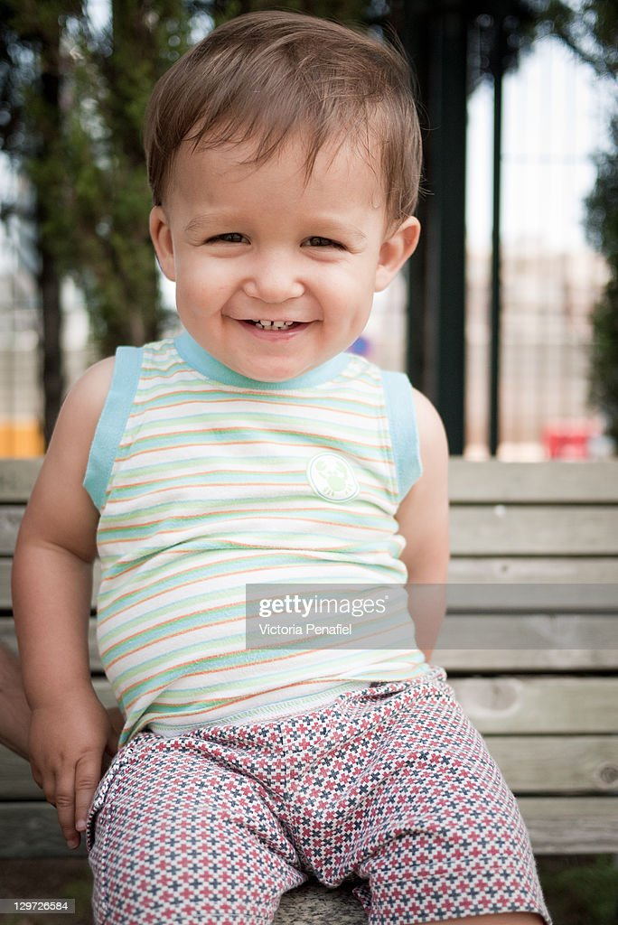 Portrait of smiling toddler : Stock Photo