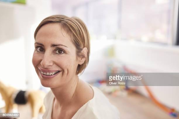 Portrait of smiling woman wearing braces