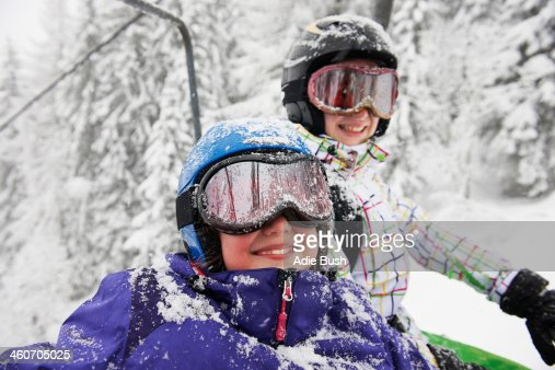 Portrait of snow covered sisters, Villaroger, Hauste Savoie, France