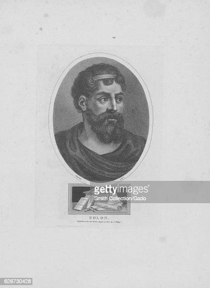 Portrait of Solon a prominent ancient Greek poet and statesman accompanied by symbols of his erudition and importance 1850 From the New York Public...