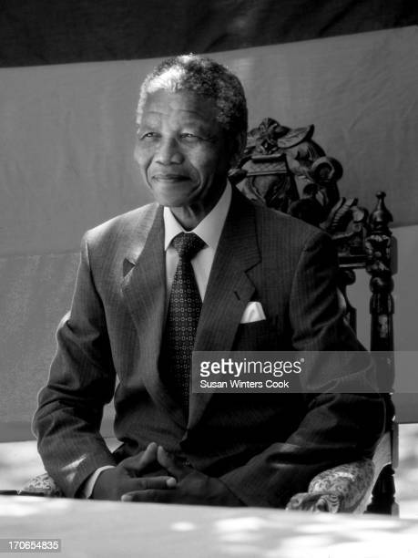 Portrait of South African antiapartheid leader Nelson Mandela as he holds a press conference at Desmond Tutu's residence the day after his release...