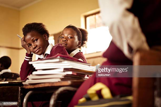Portrait of South African girls in a rural Transkei classroom
