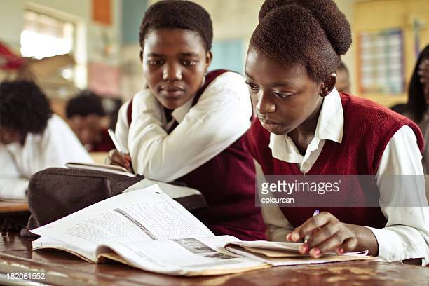 Portrait of South African girls studying in a rural classroom