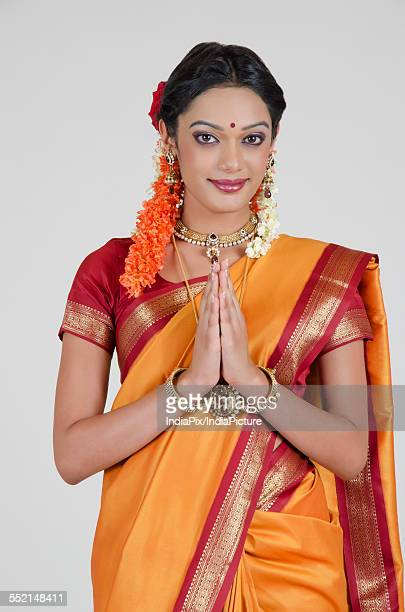 Portrait of South Indian woman greeting