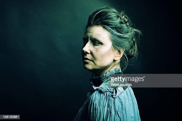 Portrait of Spooky Looking Old Woman
