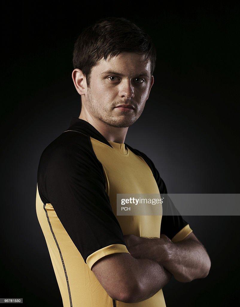 Portrait of sportsman in kit : Stock Photo