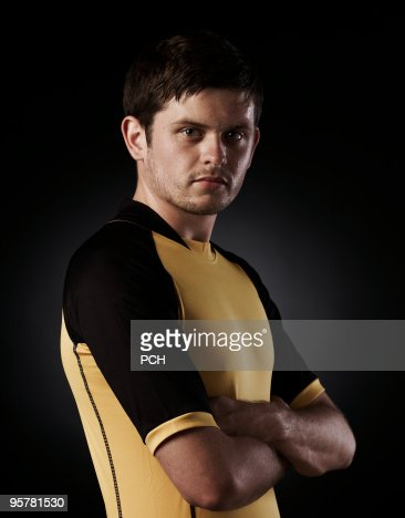 Portrait of sportsman in kit : Bildbanksbilder