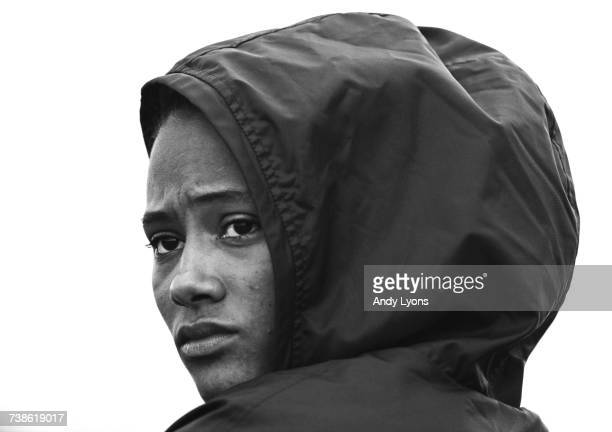 A portrait of sprinter Marion Jones of the United States during the United States Track and Field Championships on 25 June 1999 at Hayward Field in...