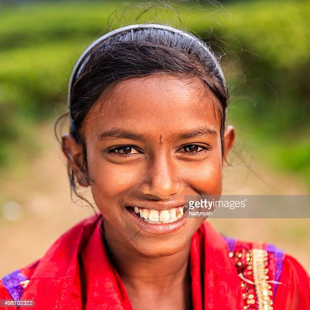 Portrait of Sri Lankan young girl near Nuwara Eliya, Ceylon