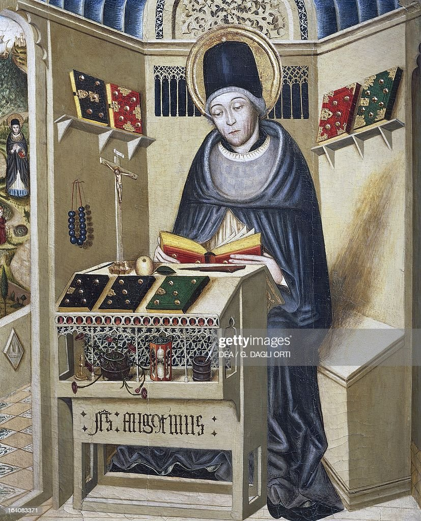Portrait of St Augustine of Hippo painting from a 15th century Catalan School Vic Museu Episcopal