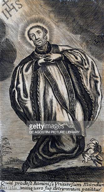 Portrait of St Francis Xavier Spanish Jesuit and missionary Engraving