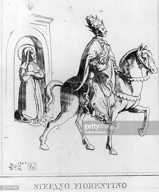 1305 Portrait of Stefano Florentino Pope Clement V pope from 1305 to 1314 riding a horse in his papal robes and mitre in Florence