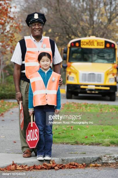 Portrait of Student and Adult Crossing Guards