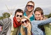 Portrait of stylish friends in sunglasses