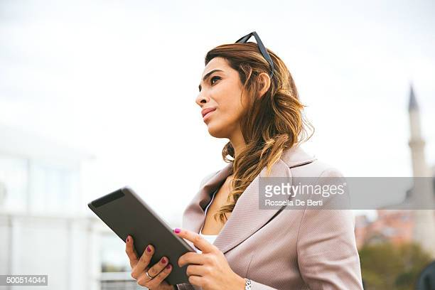 Portrait Of Successful Businesswoman Working  Outdoors