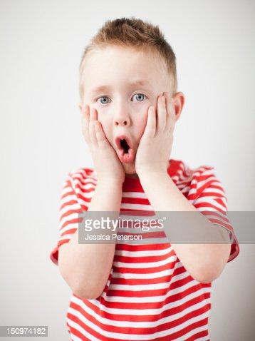 Portrait of surprised toddler boy (2-3) : Stock Photo