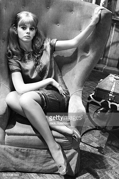 Portrait of Swedish actress Britt Ekland as she poses in a highbacked armchair New York New York November 1967