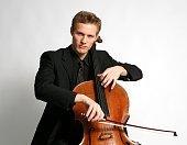 Portrait of Swedish cellist Sebastian Baverstam against a white background New York New York November 25 2009