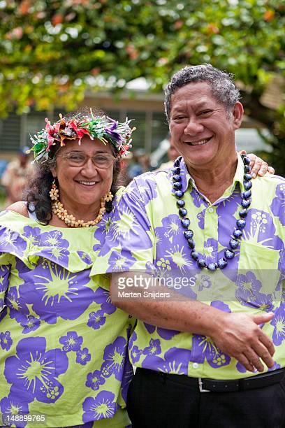 Portrait of Tahitian couple at Women's Festival, Maeva Tehaaehaa.