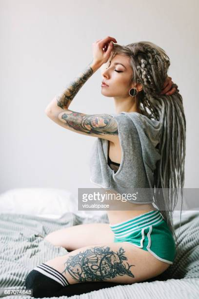 Portrait of tattooed woman