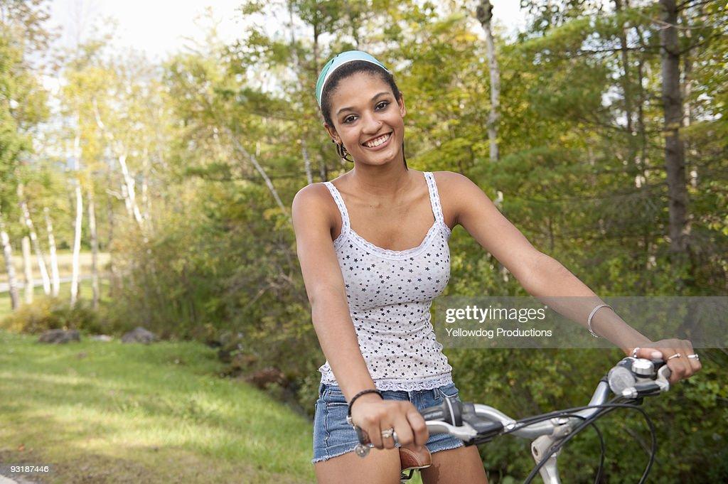 Portrait of Teen Girl with Bike
