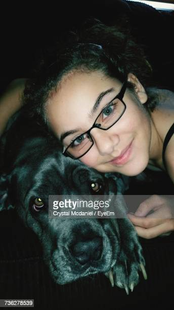 Portrait Of Teenage Girl With Cane Corso