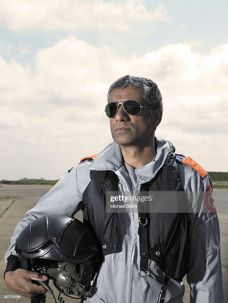 portrait of test pilot on airfield : Stock Photo