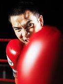 Portrait of Thai boxer, close-up