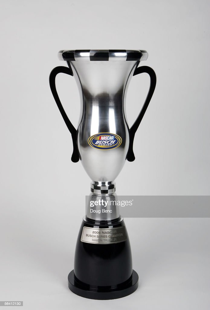 A portrait of the 2005 Championship trophy won by Martin Truex Jr at the NASCAR Busch Series Banquet at the Portofino Bay Hotel on December 9 2005 in...