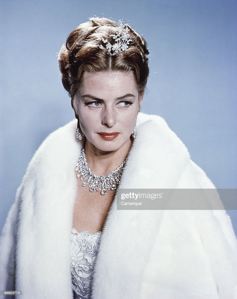 Portrait of the actress Ingrid Bergman, wearing a fur coat, and diamond necklace and tiara, ca.1960s.