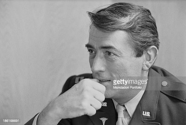 Portrait of the american actor Gregory Peck while wears a military uniform USA 1963