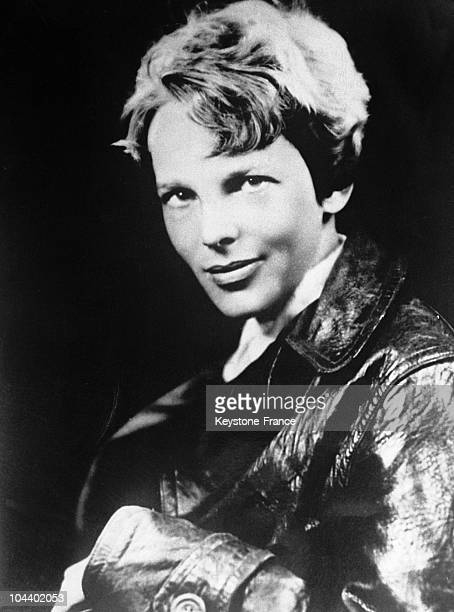 Portrait of the American aviator Amelia EARHART at the begining of the year She was in Grace Harbour on May 20 1932 where she flew above the Atlantic...