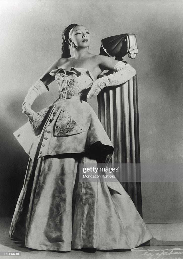 A portrait of the American dancer and actress Josephine Baker in an evening dress 1930s