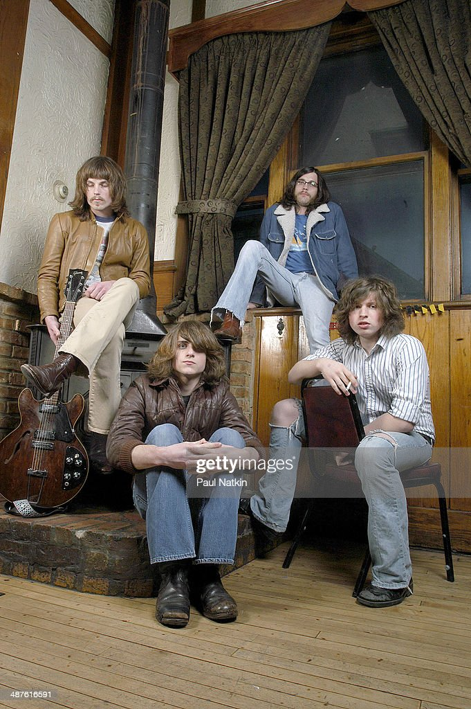Portrait of the American music group Kings of Leon Chicago Illinois March 30 2003 Pictured are from left brothers Caleb Followill Jared Followill and...