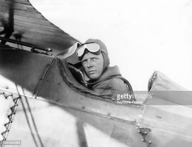 Portrait of the American pilot Charles LINDBERGH He was the first to succeed to cross the Atlantic without stop over He had just arrived in...