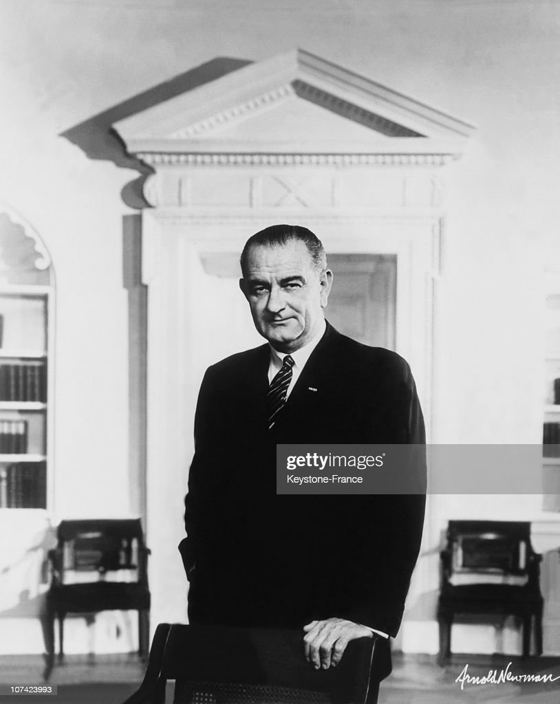 Portrait Of The American President Lyndon B Johnson At Washington In Usa On January 1964