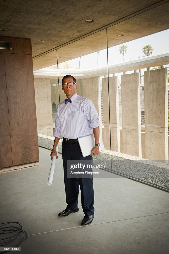 portrait of the architect on the project site : Stock Photo
