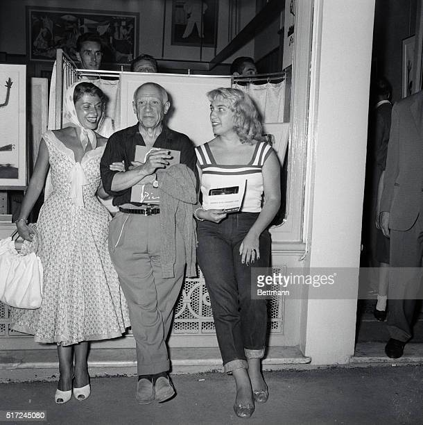 Portrait of the Artist Cannes France Attending a Cannes art show artist Pablo Picasso shares the spotlight with French actress Vera Clouzot and his...
