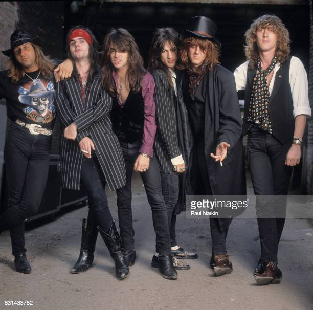 Portrait of the band the London Quireboys at the Vic Theater in Chicago Illinois June 27 1990