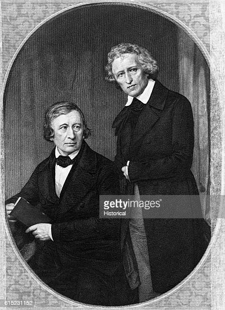 Portrait of the Brothers Grimm historical linguists and collecters of German folk tales Their collections were published in English as Grimm's Fairy...