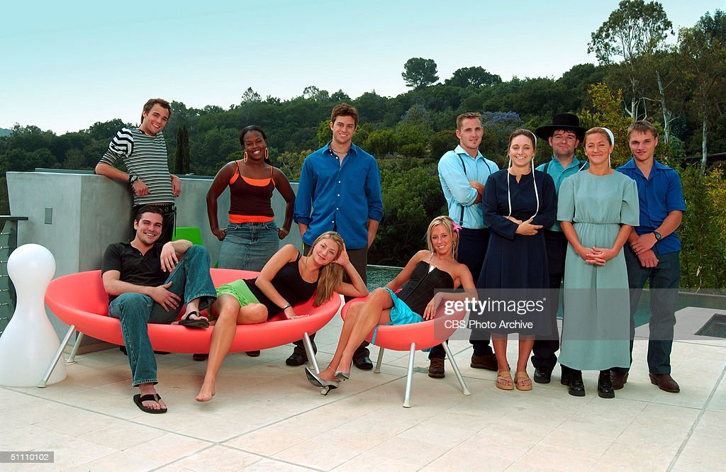 Portrait of the cast members of the UPN reality based television show 'Amish In The City,' Los Angeles, California, July 7, 2004. From left, standing, Reese, Whitney, Kevan, Randy, Ruth, Mose, Miriam, Jonas; from left, sitting, Nick, Ariel, Meagan.