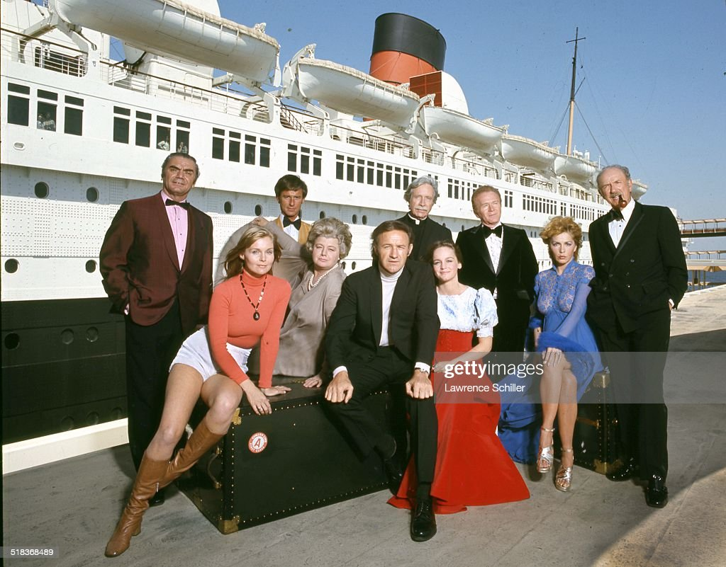 Portrait of the cast of the film 'The Poseidon Adventure' (directed by Ronald Neame), California, 1972. Pictured are, seated from left, actors Carol Lynley, Shelley Winters (1920 - 2006), Gene Hackman, Pamela Sue Martin, and Stella Stevens (in blue), and, standing from left, Ernest Borgnine (1917 - 2012), Roddy McDowall (1928 - 1998), Arthur O'Connell (1908 - 1981), Red Buttons (1919 - 2006), and Jack Albertson (1907 - 1981).