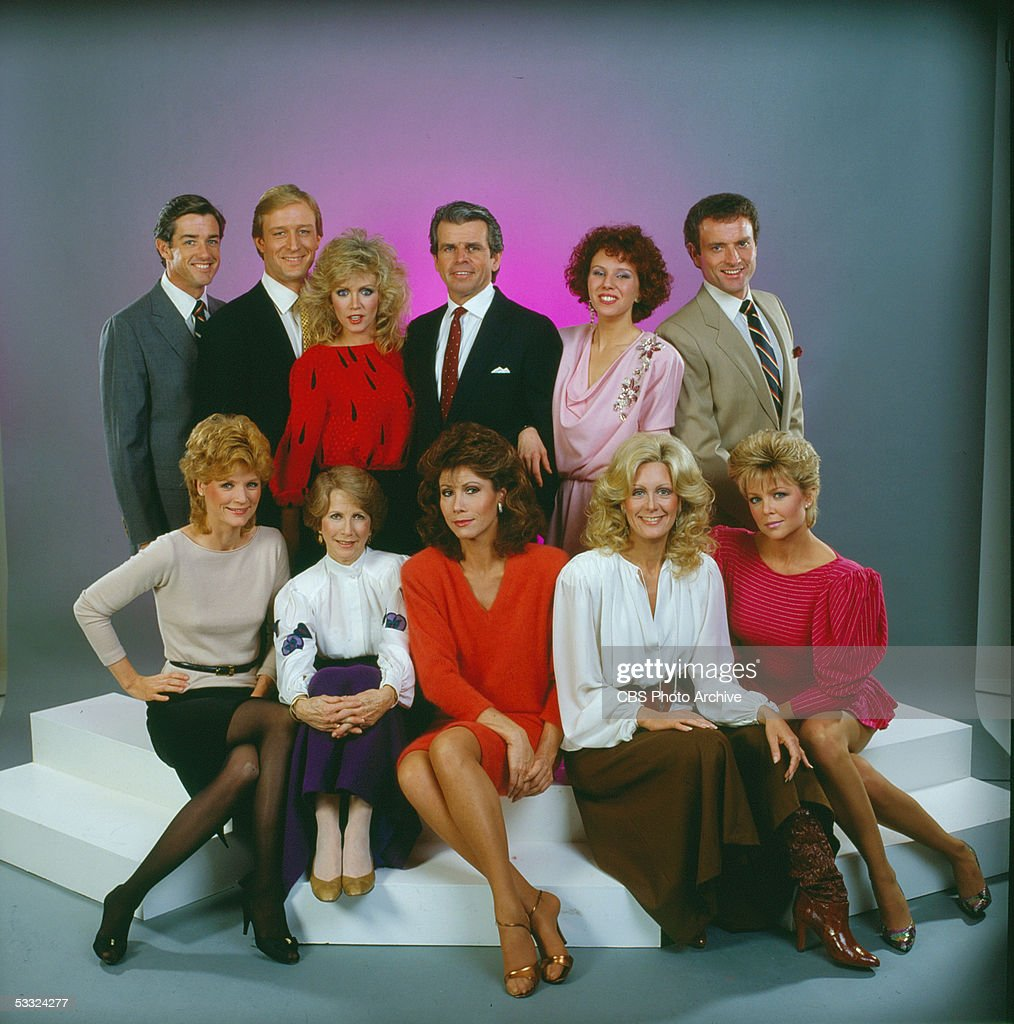 Portrait of the cast of the prime-time television soap opera 'Knots Landing,' 1984. Pictured are, back row from left, American actors Douglas Sheehan, Ted Shackleford, Donna Mills, William Devane, Claudia Lonow, and Kevin Dobson: front row from left, Constance McCashin, <a gi-track='captionPersonalityLinkClicked' href=/galleries/search?phrase=Julie+Harris+-+Actress&family=editorial&specificpeople=14645339 ng-click='$event.stopPropagation()'>Julie Harris</a>, Michele Lee, Joan Van Ark, and Lisa Hartman.