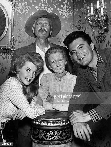 Portrait of the cast of the television comedy series 'The Beverly Hillbillies' RL Max Baer Jr Irene Ryan Buddy Ebsen and Donna Douglas