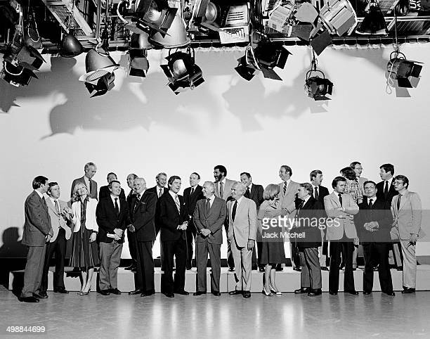 Portrait of the CBS News oncamera staff 1980 Pictured are Walter Cronkite Dan Rather Mike Wallace Leslie Stahl and Harry Reasoner Shortly afterwards...