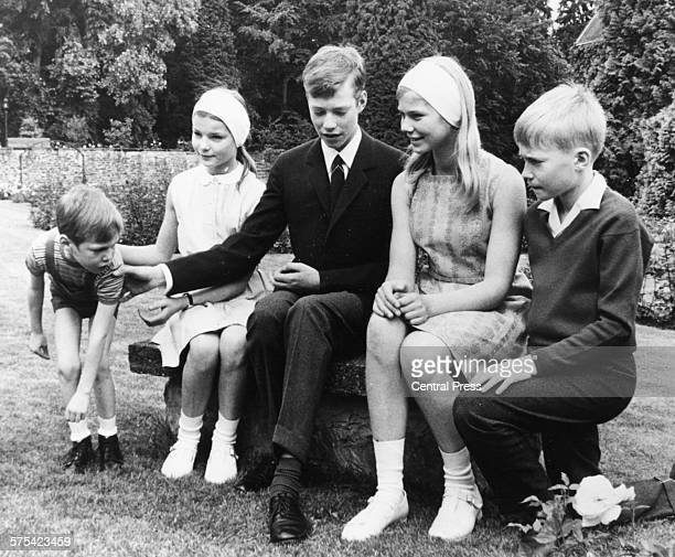 Portrait of the children of the Luxembourg Prince Gaillaume Princess Margaretha Prince Henri Princess Marie Astrid and Prince Jean June 1977