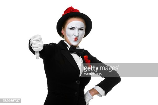 Portrait of the condemning mime : Stock Photo