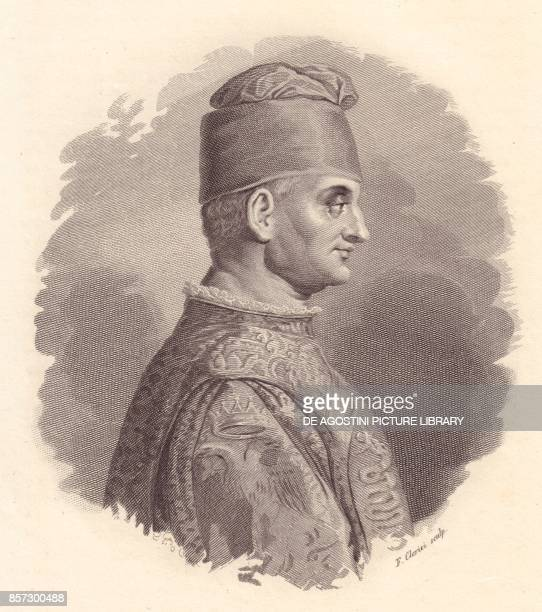 Portrait of the Duke of Milan Filippo Maria Visconti copper engraving by F Clerici from the portrait published by Antonio Campo from Iconografia...