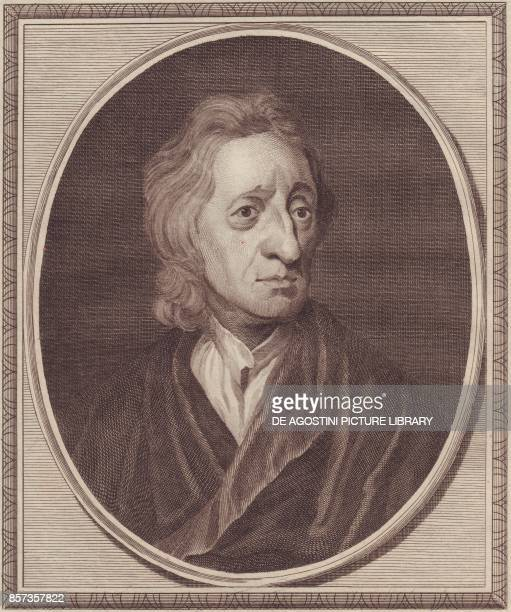 Portrait of the English philosopher John Locke copper engraving by John Goldar from a painting by G Kneller 19x16 cm from History of England by Paul...